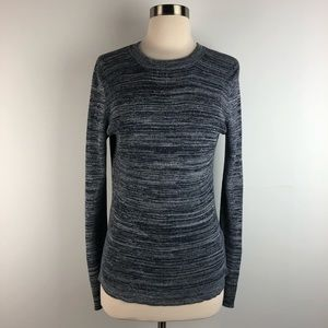 J Crew Blue Snap Sleeve Fitted Ribbed Sweater